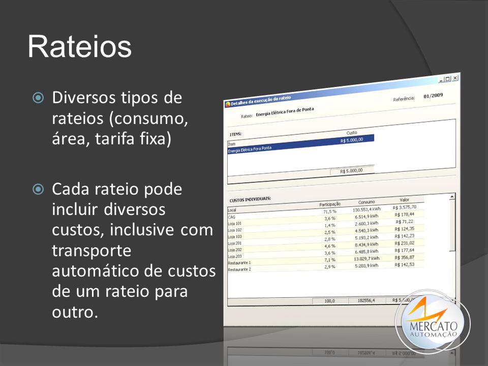 Rateios Diversos tipos de rateios (consumo, área, tarifa fixa)