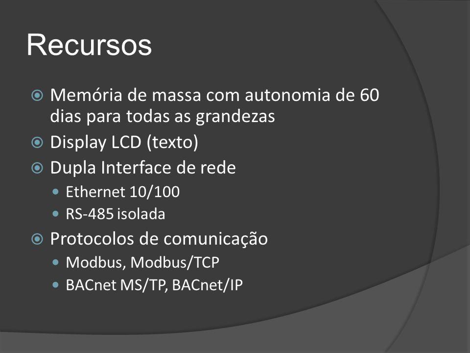 Recursos Memória de massa com autonomia de 60 dias para todas as grandezas. Display LCD (texto) Dupla Interface de rede.