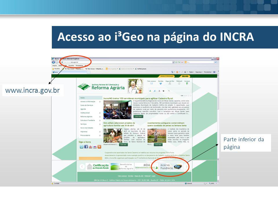 Acesso ao i³Geo na página do INCRA