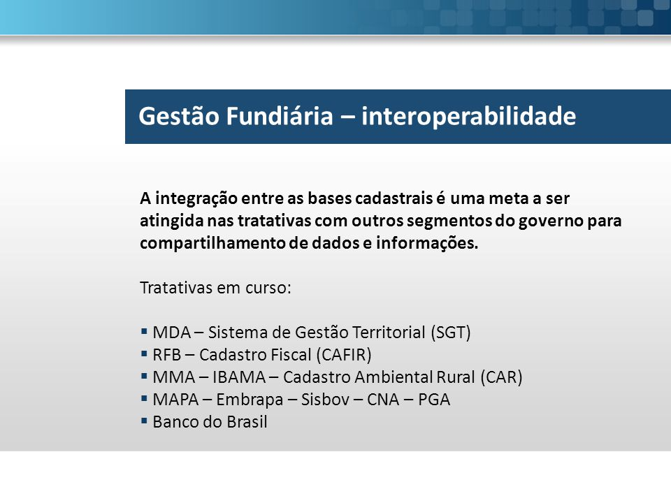 Gestão Fundiária – interoperabilidade
