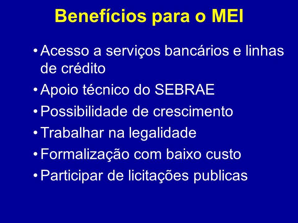 Benefícios para o MEI Acesso a serviços bancários e linhas de crédito