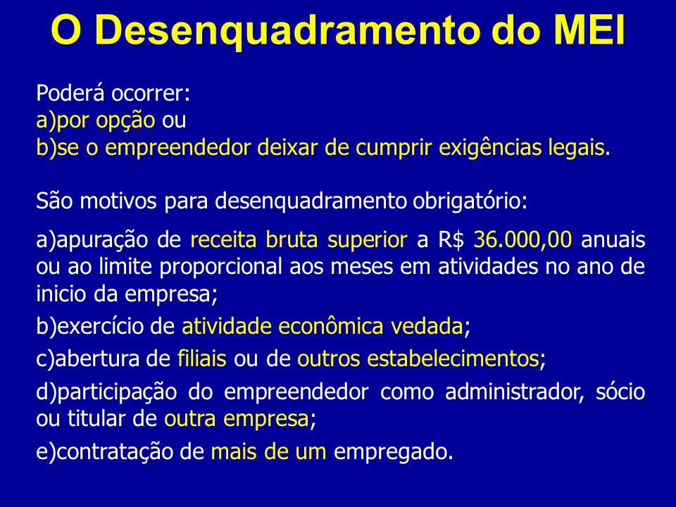O Desenquadramento do MEI