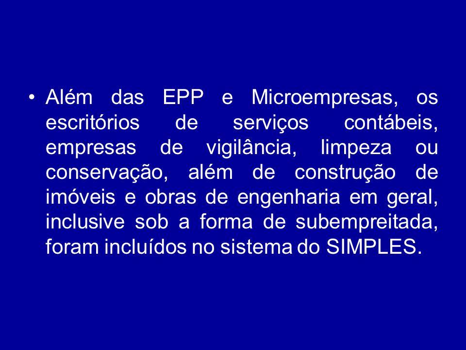 Além das EPP e Microempresas, os escritórios de serviços contábeis, empresas de vigilância, limpeza ou conservação, além de construção de imóveis e obras de engenharia em geral, inclusive sob a forma de subempreitada, foram incluídos no sistema do SIMPLES.