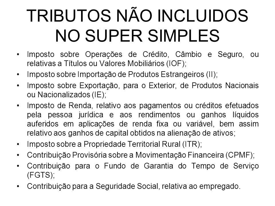 TRIBUTOS NÃO INCLUIDOS NO SUPER SIMPLES