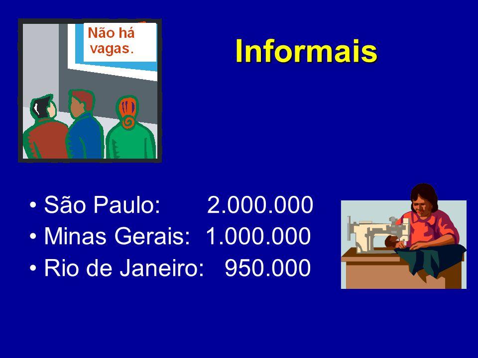 Informais São Paulo: 2.000.000 Minas Gerais: 1.000.000