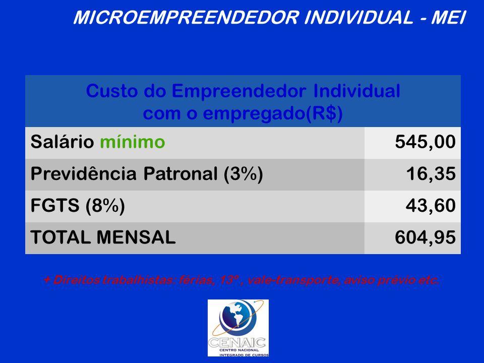 MICROEMPREENDEDOR INDIVIDUAL - MEI Custo do Empreendedor Individual
