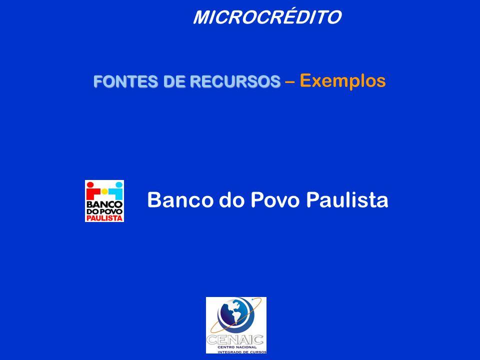 FONTES DE RECURSOS – Exemplos