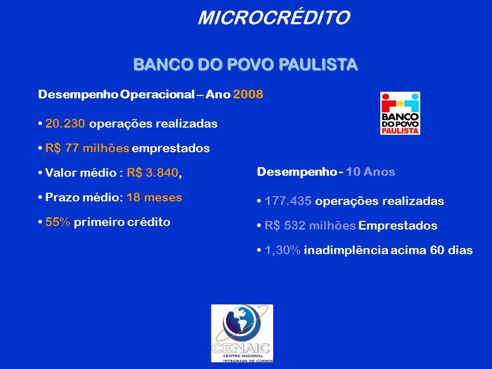 MICROCRÉDITO BANCO DO POVO PAULISTA Desempenho Operacional – Ano 2008