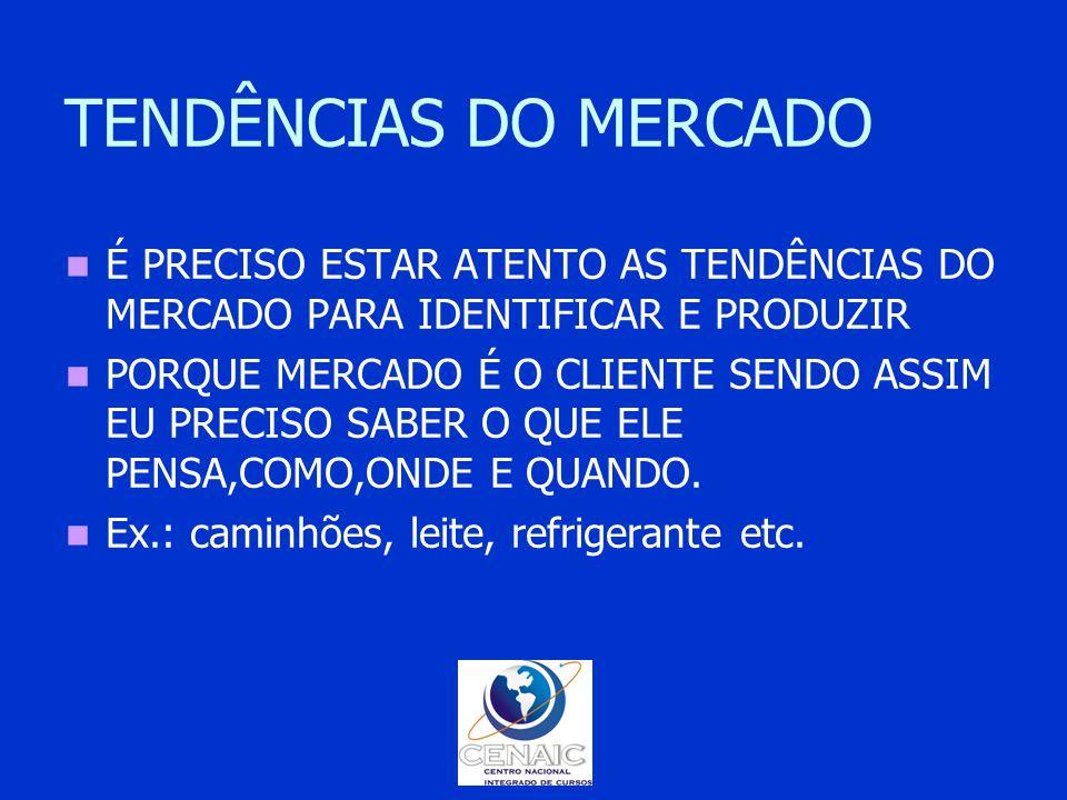 TENDÊNCIAS DO MERCADO É PRECISO ESTAR ATENTO AS TENDÊNCIAS DO MERCADO PARA IDENTIFICAR E PRODUZIR.