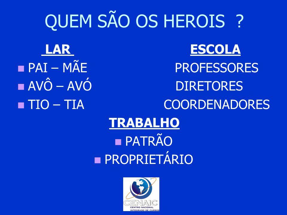 QUEM SÃO OS HEROIS LAR ESCOLA PAI – MÃE PROFESSORES