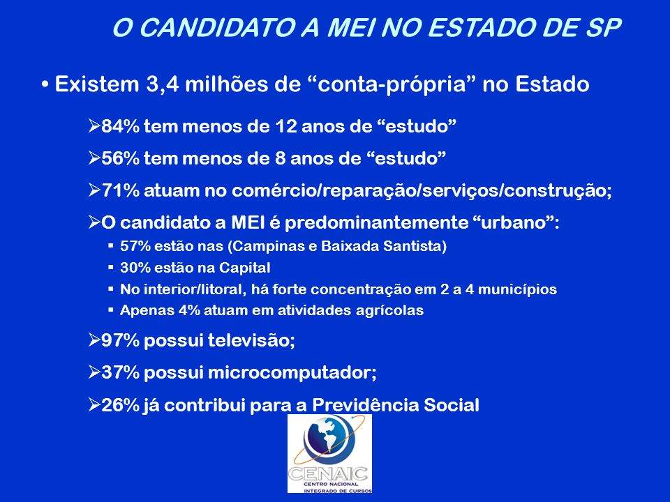 O CANDIDATO A MEI NO ESTADO DE SP