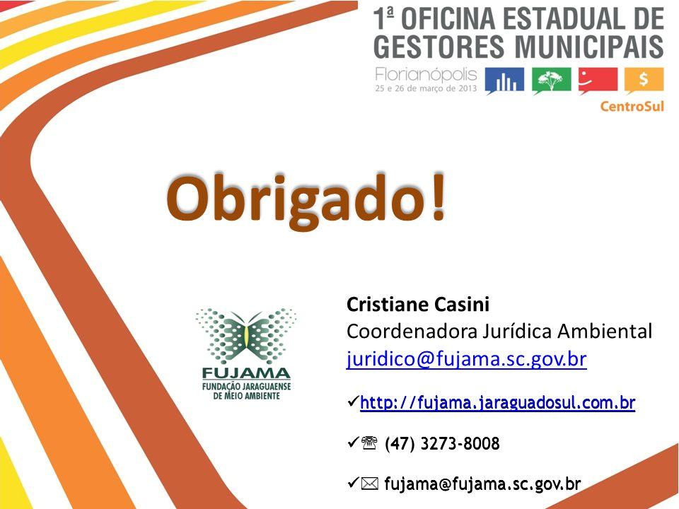Obrigado! Cristiane Casini Coordenadora Jurídica Ambiental