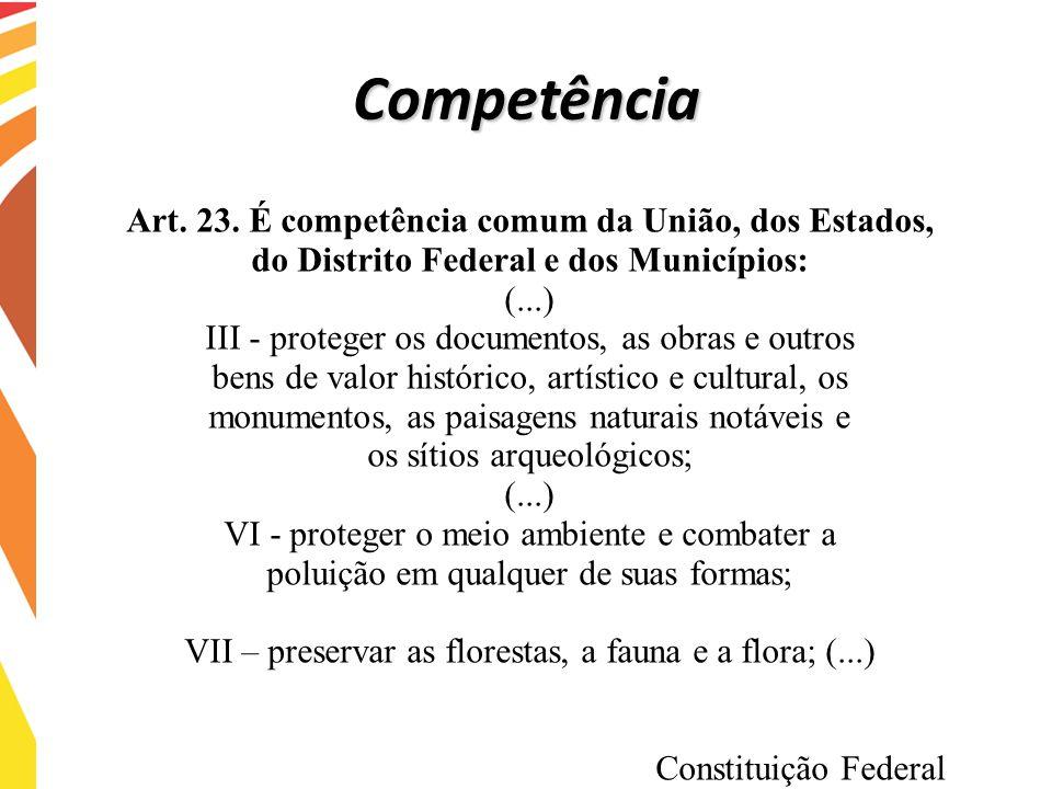 Competência Art. 23. É competência comum da União, dos Estados,