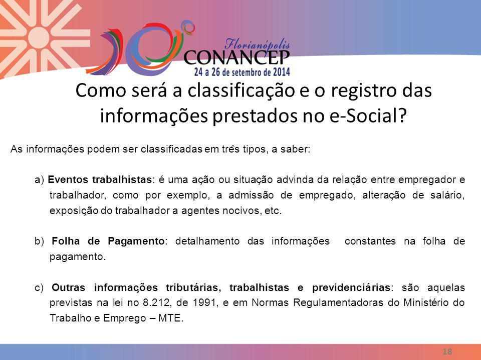 Como será a classificação e o registro das informações prestados no e-Social
