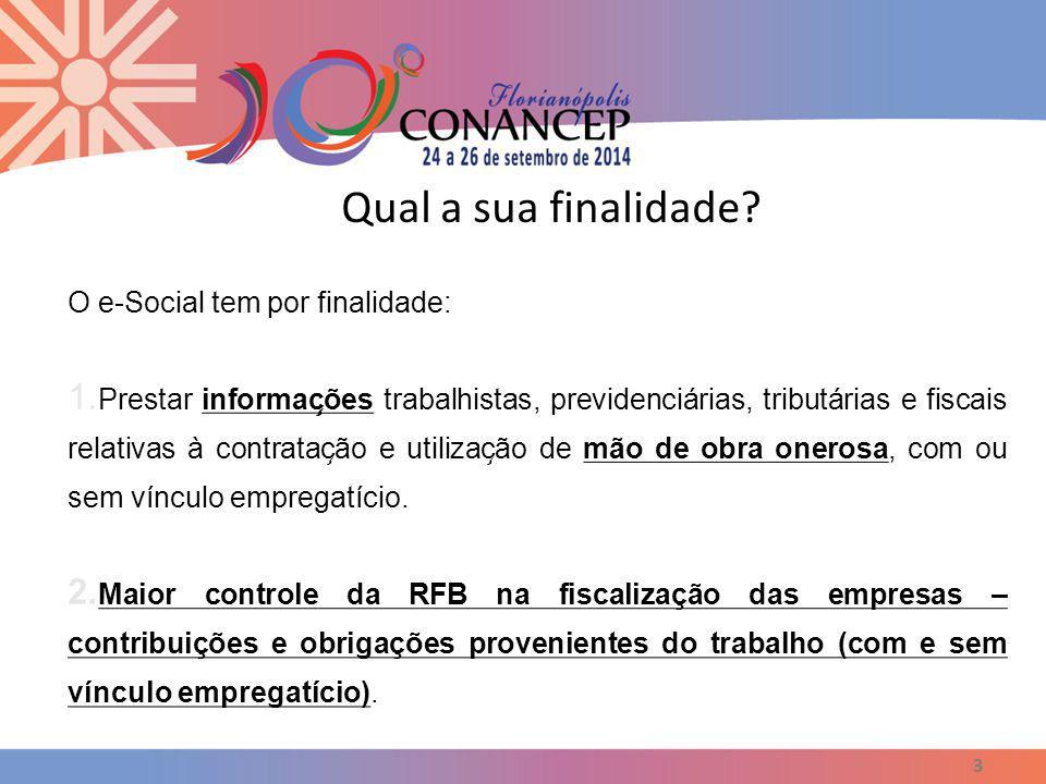 Qual a sua finalidade O e-Social tem por finalidade: