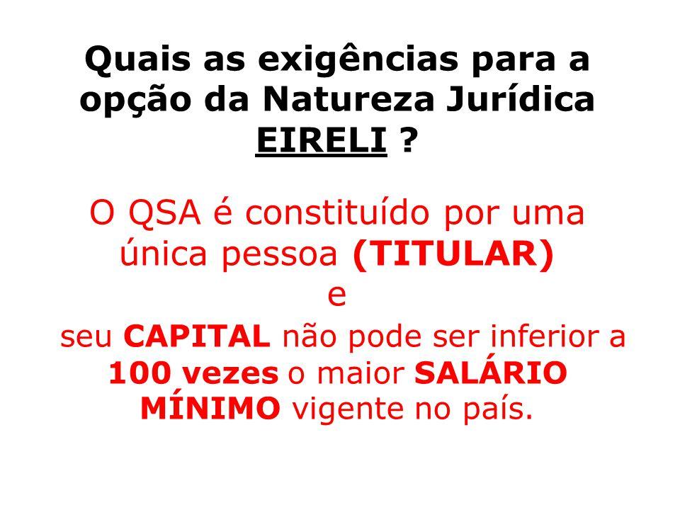 Quais as exigências para a opção da Natureza Jurídica EIRELI
