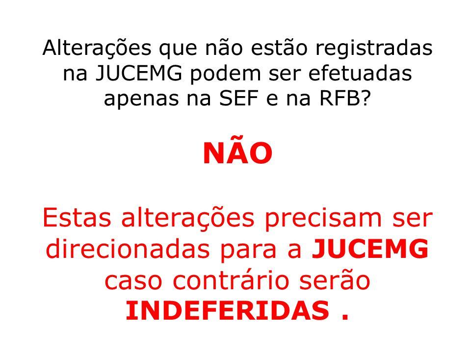 Alterações que não estão registradas na JUCEMG podem ser efetuadas apenas na SEF e na RFB
