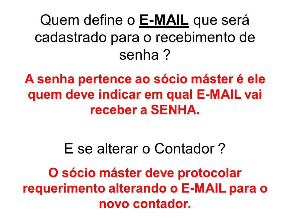 Quem define o E-MAIL que será cadastrado para o recebimento de senha