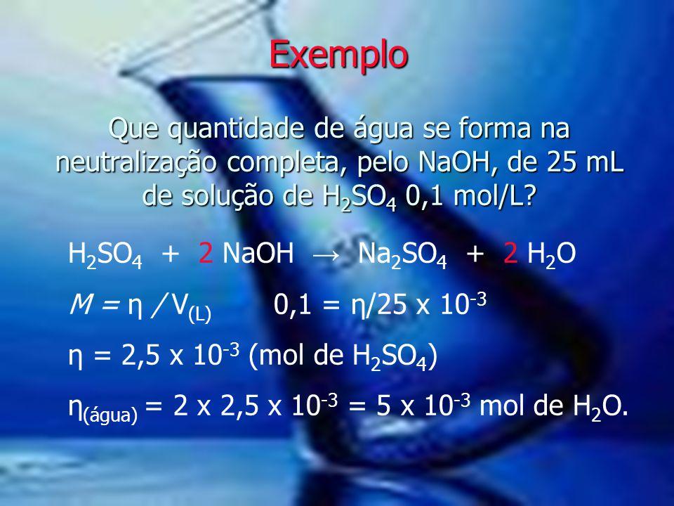 Exemplo Que quantidade de água se forma na neutralização completa, pelo NaOH, de 25 mL de solução de H2SO4 0,1 mol/L