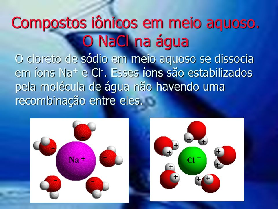 Compostos iônicos em meio aquoso. O NaCl na água