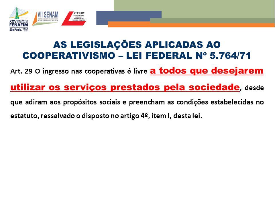 AS LEGISLAÇÕES APLICADAS AO COOPERATIVISMO – LEI FEDERAL Nº 5.764/71
