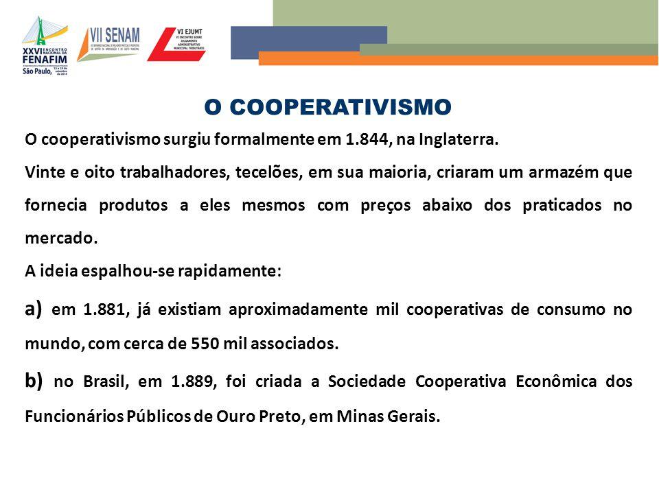 O COOPERATIVISMO O cooperativismo surgiu formalmente em 1.844, na Inglaterra.