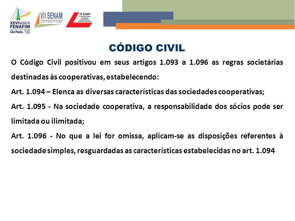 CÓDIGO CIVIL O Código Civil positivou em seus artigos 1.093 a 1.096 as regras societárias destinadas às cooperativas, estabelecendo:
