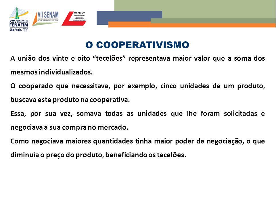O COOPERATIVISMO A união dos vinte e oito tecelões representava maior valor que a soma dos mesmos individualizados.
