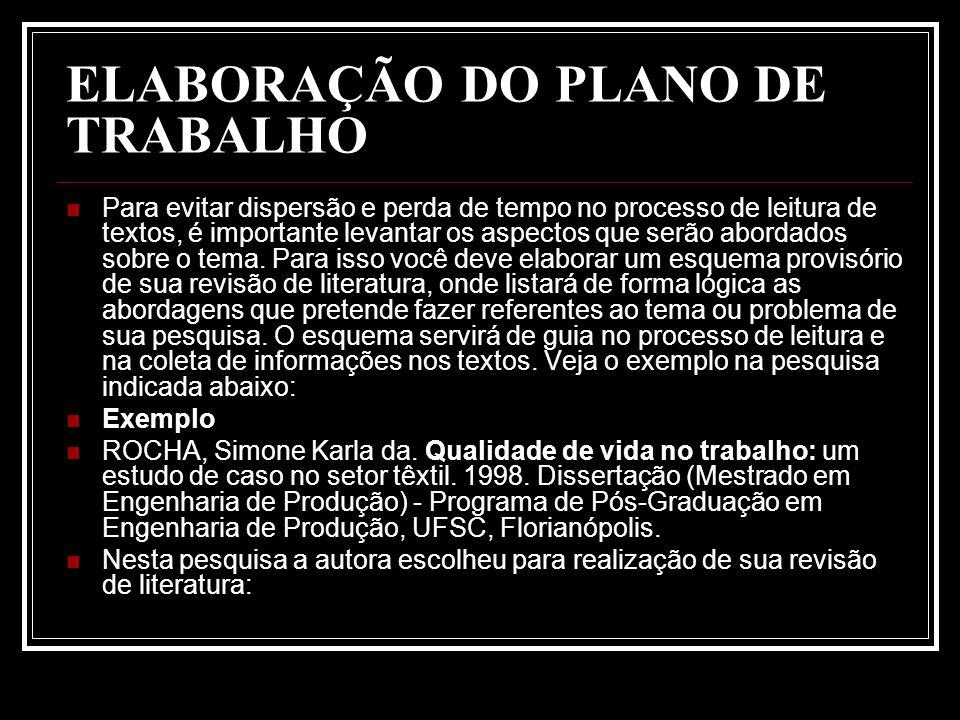 ELABORAÇÃO DO PLANO DE TRABALHO