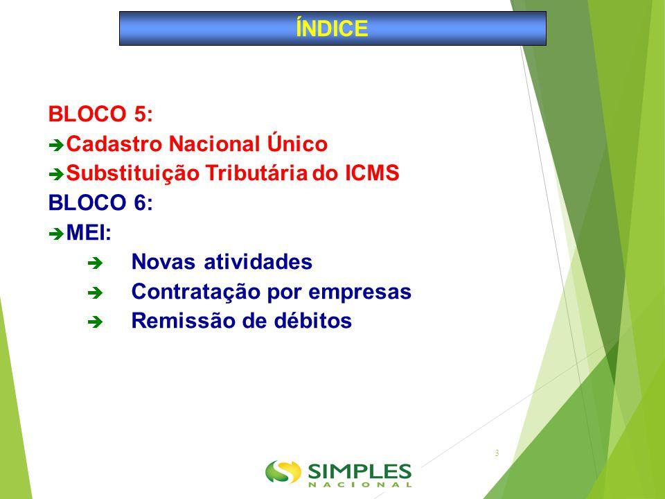 ÍNDICE BLOCO 5: Cadastro Nacional Único. Substituição Tributária do ICMS. BLOCO 6: MEI: Novas atividades.