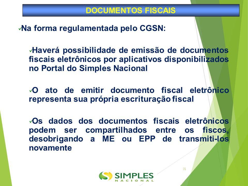Na forma regulamentada pelo CGSN: