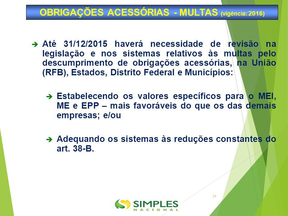 OBRIGAÇÕES ACESSÓRIAS - MULTAS (vigência: 2016)