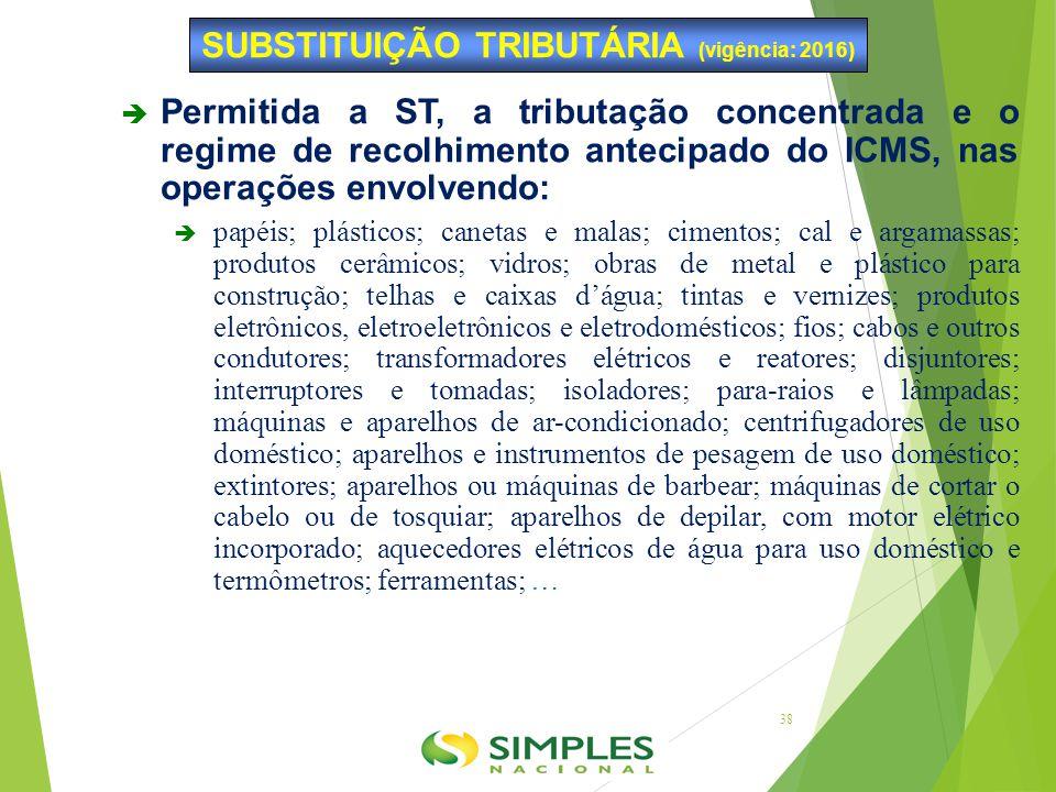 SUBSTITUIÇÃO TRIBUTÁRIA (vigência: 2016)