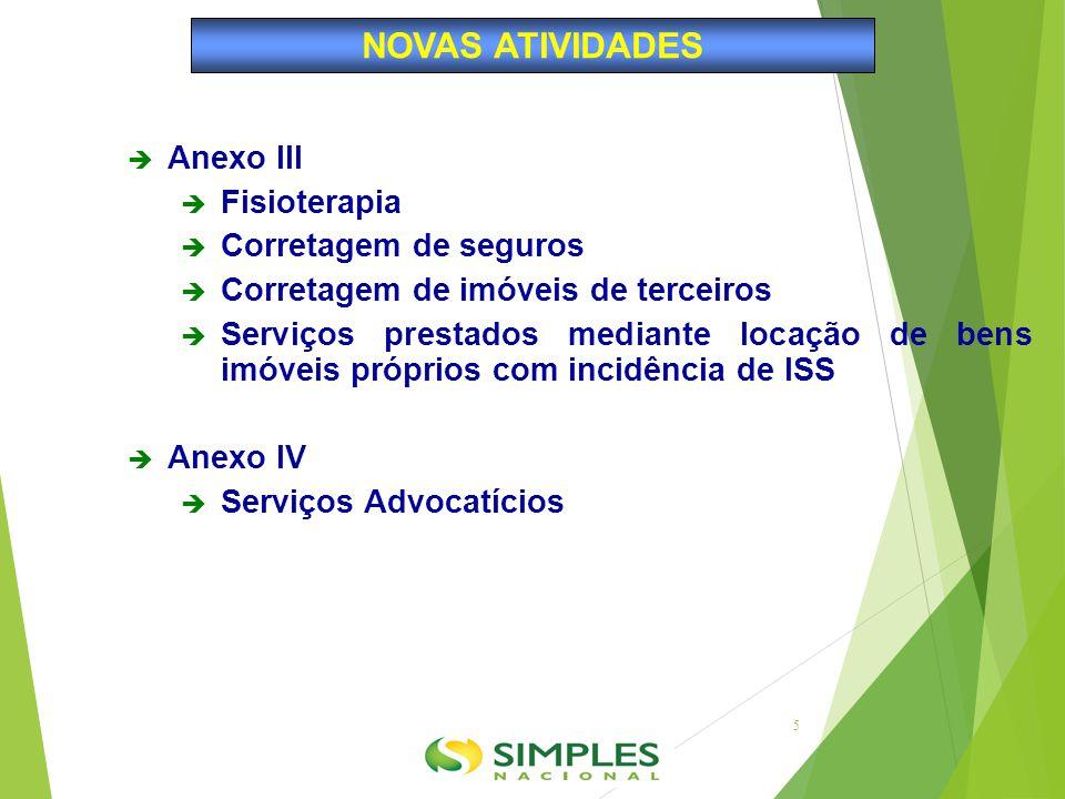 NOVAS ATIVIDADES Anexo III Fisioterapia Corretagem de seguros
