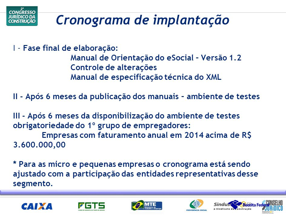 Cronograma de implantação I - Fase final de elaboração: