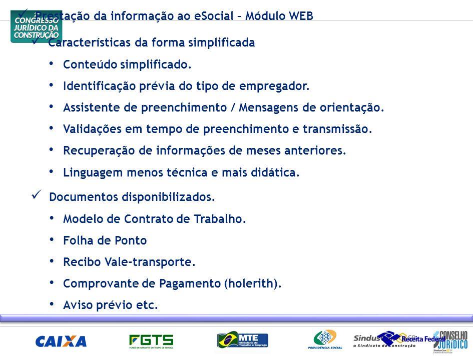 Prestação da informação ao eSocial – Módulo WEB