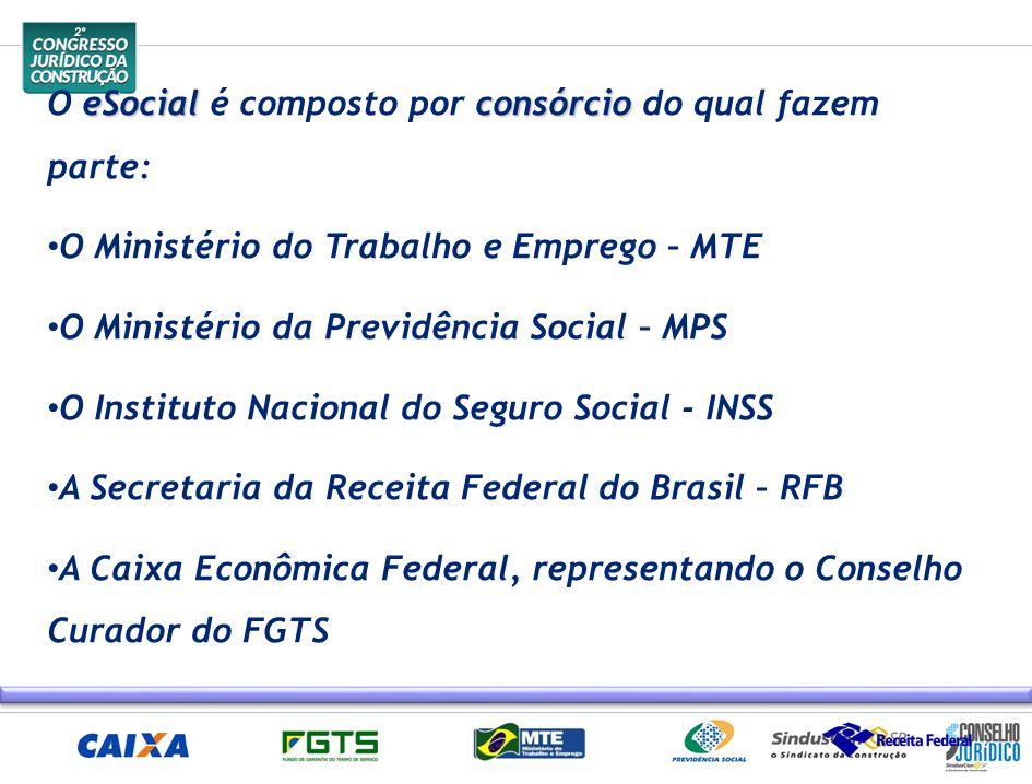 O eSocial é composto por consórcio do qual fazem parte: