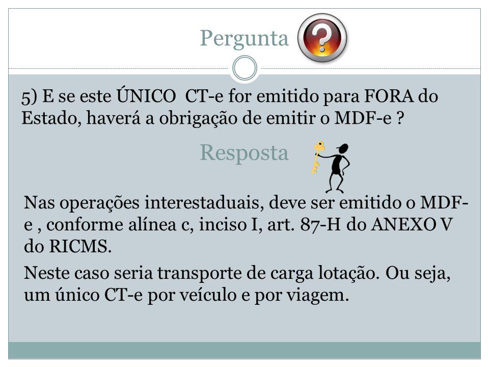 Pergunta 5) E se este ÚNICO CT-e for emitido para FORA do Estado, haverá a obrigação de emitir o MDF-e