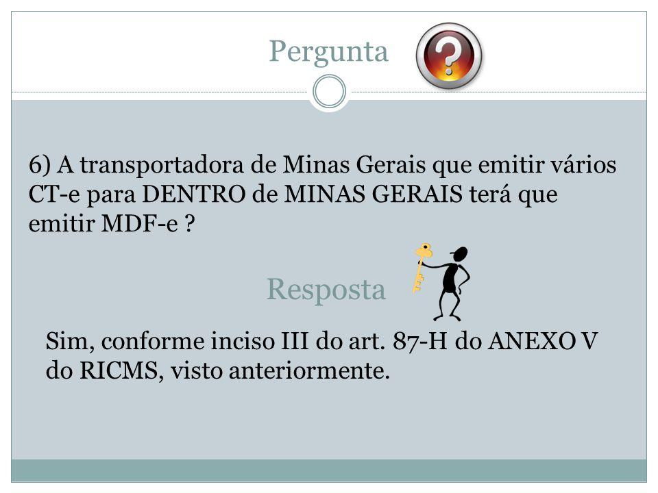 Pergunta 6) A transportadora de Minas Gerais que emitir vários CT-e para DENTRO de MINAS GERAIS terá que emitir MDF-e