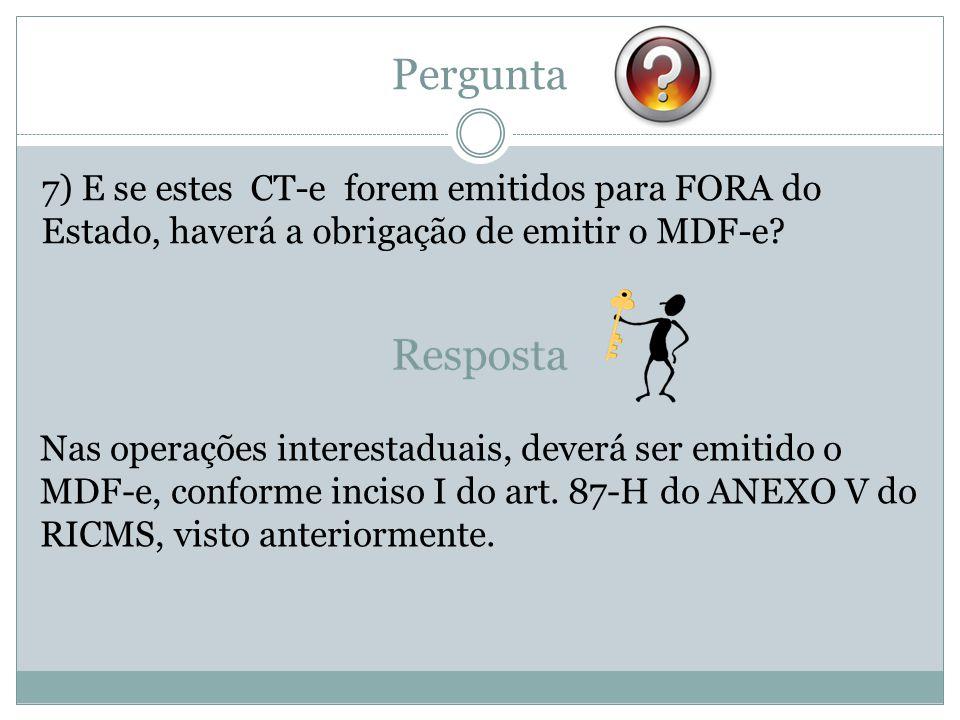 Pergunta 7) E se estes CT-e forem emitidos para FORA do Estado, haverá a obrigação de emitir o MDF-e