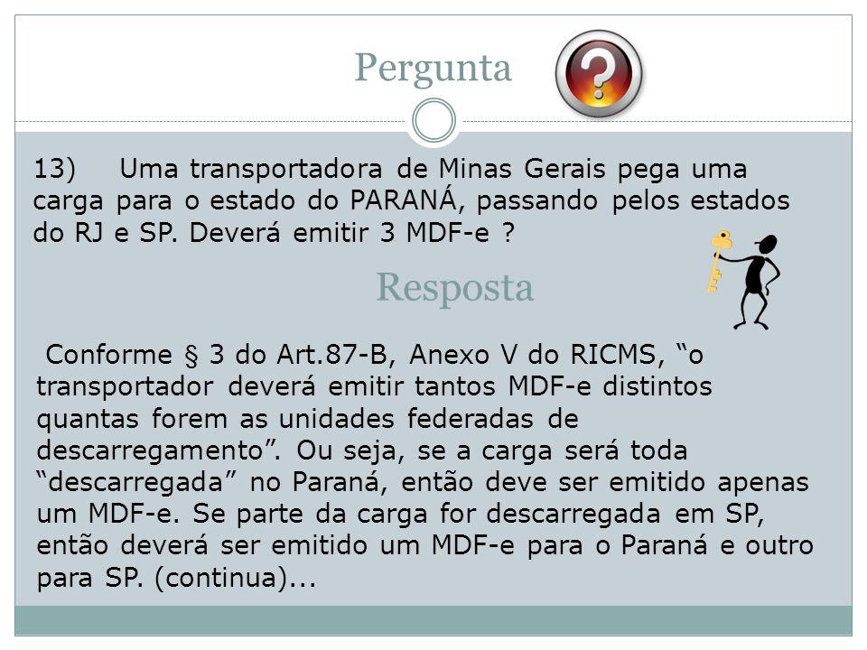 Pergunta 13) Uma transportadora de Minas Gerais pega uma carga para o estado do PARANÁ, passando pelos estados do RJ e SP. Deverá emitir 3 MDF-e