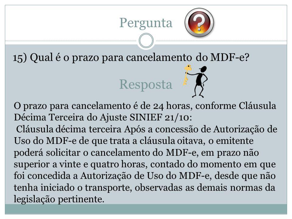 Pergunta Resposta 15) Qual é o prazo para cancelamento do MDF-e