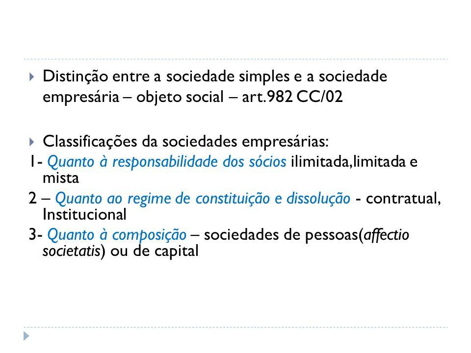 Distinção entre a sociedade simples e a sociedade empresária – objeto social – art.982 CC/02