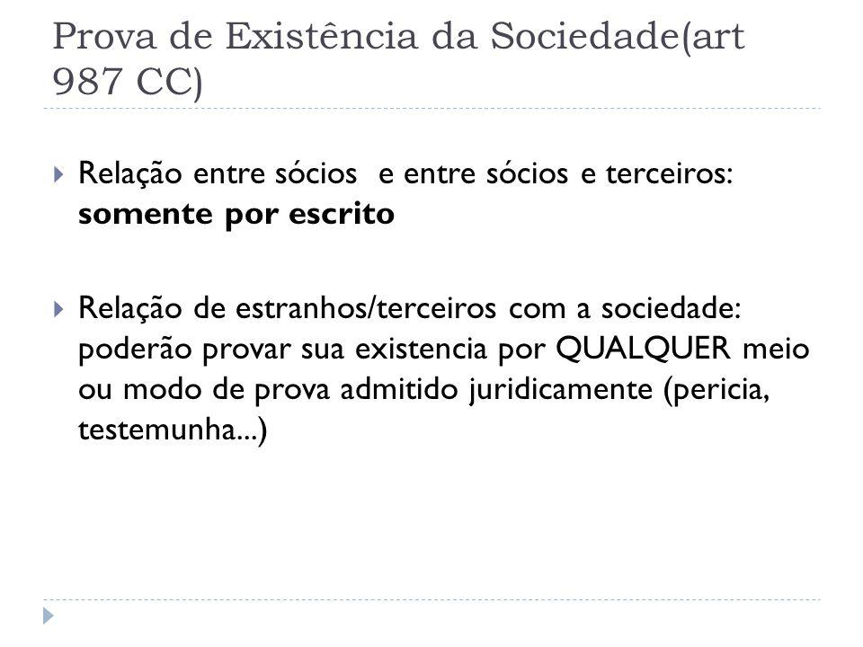 Prova de Existência da Sociedade(art 987 CC)