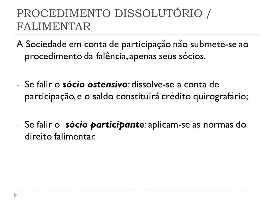 PROCEDIMENTO DISSOLUTÓRIO / FALIMENTAR