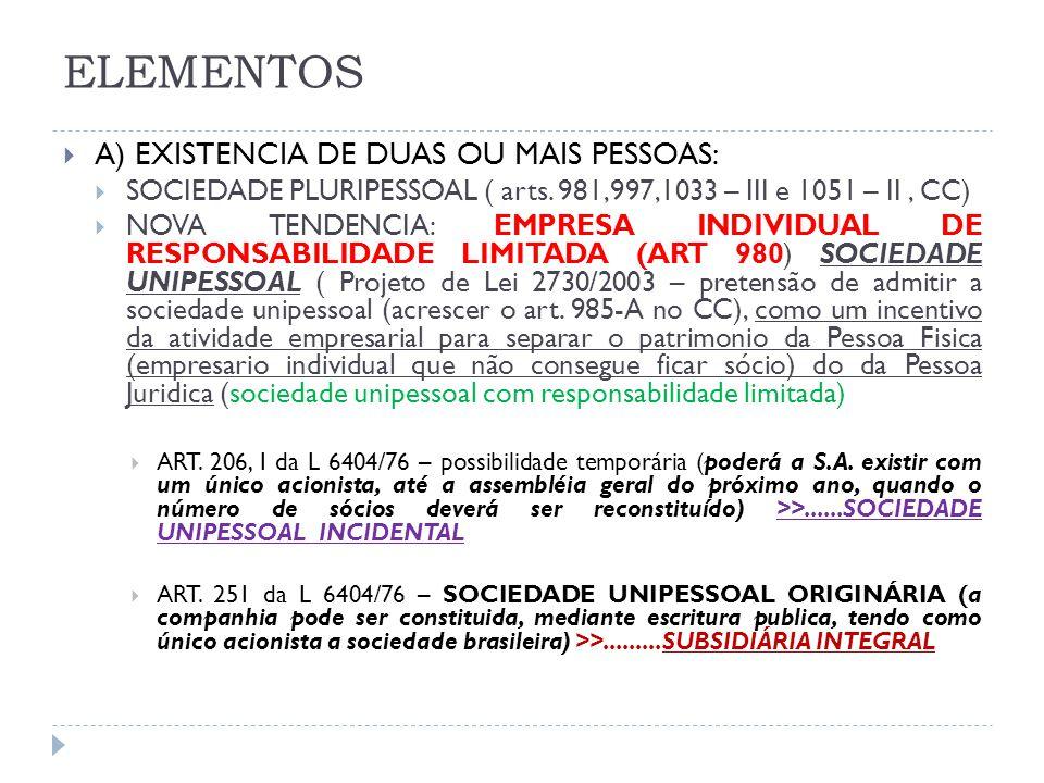 ELEMENTOS A) EXISTENCIA DE DUAS OU MAIS PESSOAS: