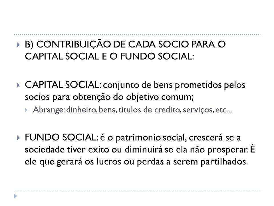 B) CONTRIBUIÇÃO DE CADA SOCIO PARA O CAPITAL SOCIAL E O FUNDO SOCIAL: