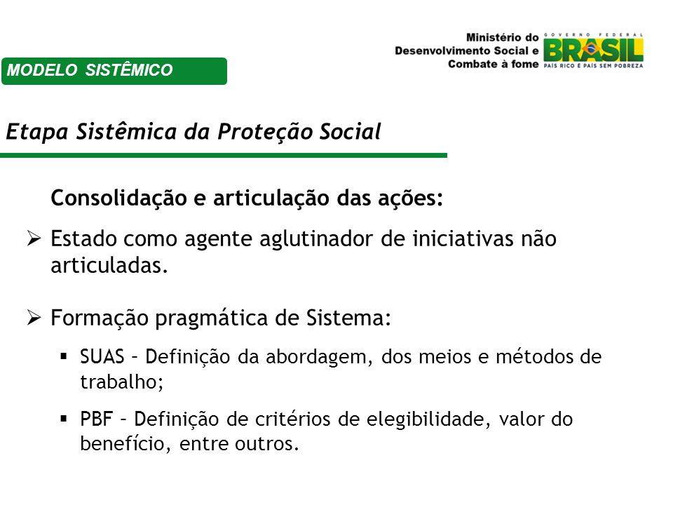 Etapa Sistêmica da Proteção Social