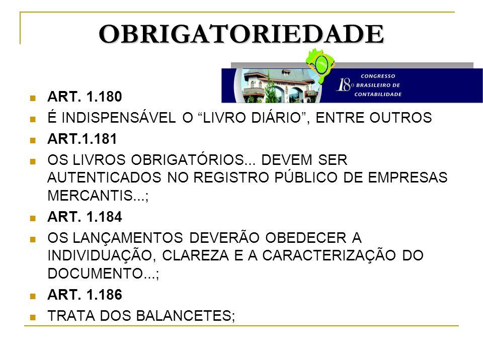 OBRIGATORIEDADE ART. 1.180. É INDISPENSÁVEL O LIVRO DIÁRIO , ENTRE OUTROS. ART.1.181.