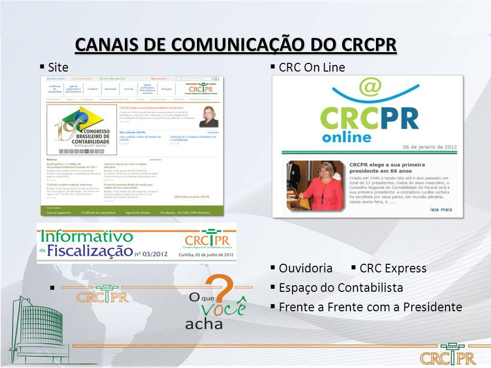 CANAIS DE COMUNICAÇÃO DO CRCPR